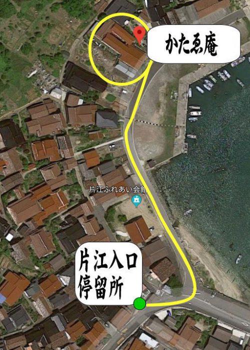 バス停片江中央からかたゑ庵へのルート